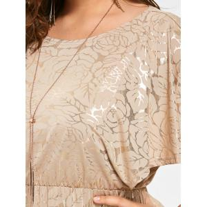 Long Bronze Plus Size Flutter Sleeve Dress -
