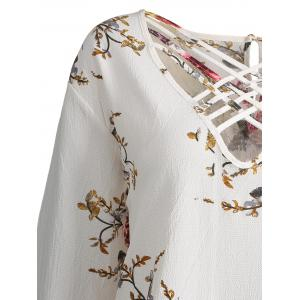 Lattice Plus Size Hollow Out Floral Top - CRYSTAL CREAM 2XL