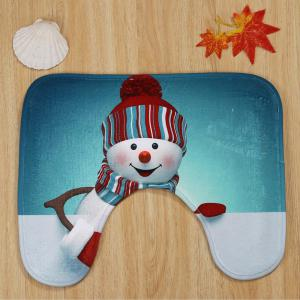 Christmas Snowman Pattern 3 Pcs Bath Mat Toilet Mat - COLORMIX