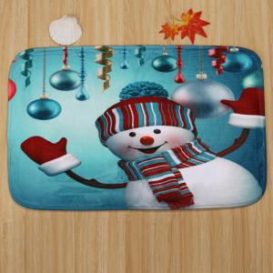 Christmas Baubles Snowman Pattern 3 Pcs Bath Mat Toilet Mat -