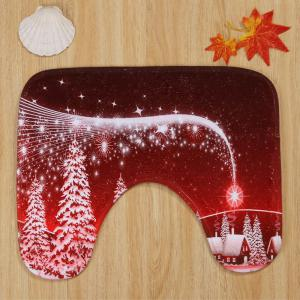 Christmas Village Pattern 3 Pcs Bath Mat Toilet Mat - RED