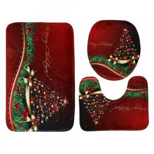 Merry Christmas Star Pattern 3 Pcs Bath Mat Toilet Mat -