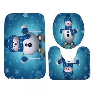 Christmas Snowman Skiing Pattern 3 Pcs Bath Mat Toilet Mat - LAKE BLUE