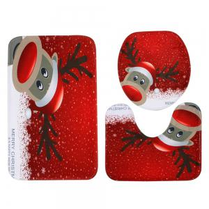 Christmas Deer Pattern 3 Pcs Bath Mat Toilet Mat -
