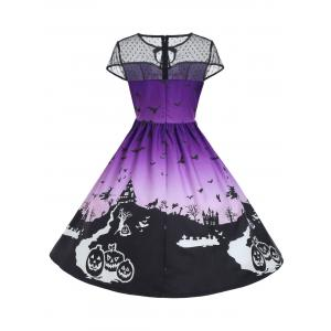 Vintage Mesh Panel Halloween A Line Dress - PURPLE M