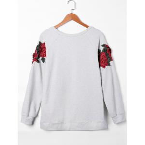 Pullover Raglan Sleeves Floral Embroidered Sweatshirt - Gris L