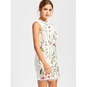 Floral Sleeveless Embroidered Mesh Dress - WHITE M