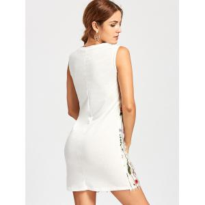 Floral Sleeveless Embroidered Mesh Dress - WHITE L