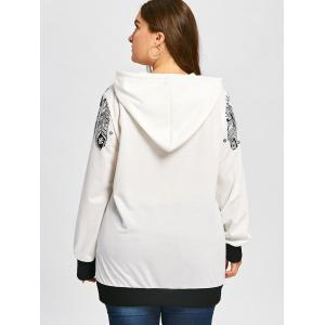 Feather Print Drawstring Tunic Plus Size Hoodie -