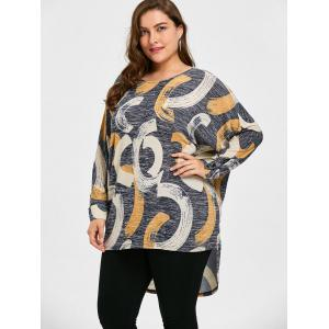 Long Plus Size Print High Low Top - GRAY 2XL