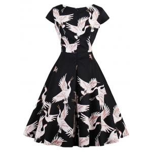 Retro Goose Print Fit and Flare Dress - BLACK S