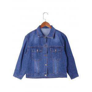 Letter Print Frayed Hem Jean Jacket - DENIM BLUE XL