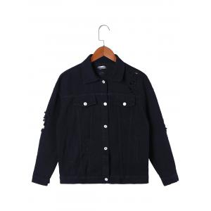 Blue Is My Name Frayed Jean Jacket - BLACK L