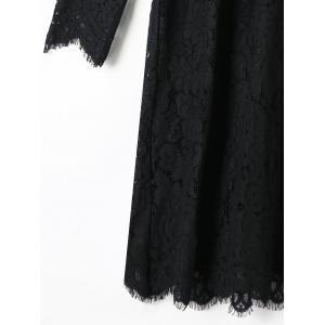 Ruffle Panel Lace Babydoll Dress - BLACK M