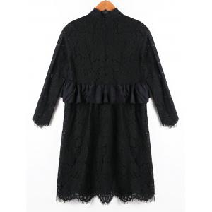 Ruffle Panel Lace Babydoll Dress - Noir XL