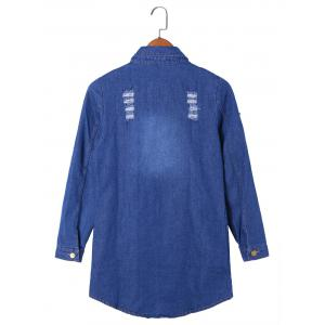 Flap Pockets Frayed Denim Shirt Coat - BLUE 2XL