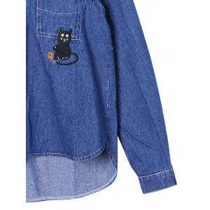 Kitty Embroidery High Low Hem Shirt Jacket - BLUE M