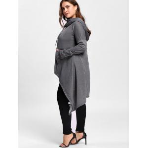 Plus Size Maxi Asymmetric Funnel Collar Hoodie -