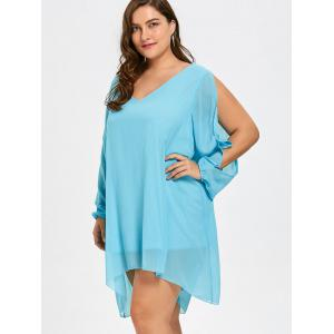 Plus Size Flowy Chiffon Slit Sleeve Top -