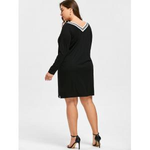 Long Sleeve Plus Size V-neck Dress -