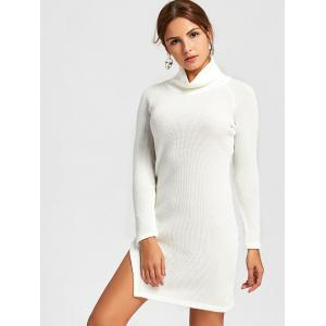 Side Slit Turtleneck Mini Sweater Dress -