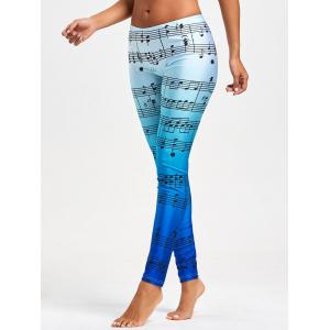 Skinny Music Note Ombre Print Leggings -