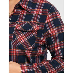 Plus Size Crane Letter Embroidered Plaid Shirt -