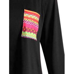 T-shirt Tribal Print Tunique de poche -