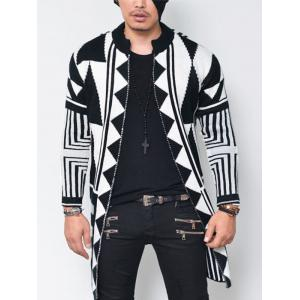 Open Front Tribal Geometric Pattern Cardigan -