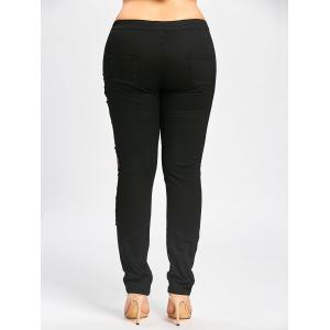 Destroyed Floral Patched Plus Size Tight Jeans -