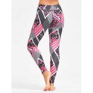Tiny Floral Arygle Pattern Leggings for Yoga -