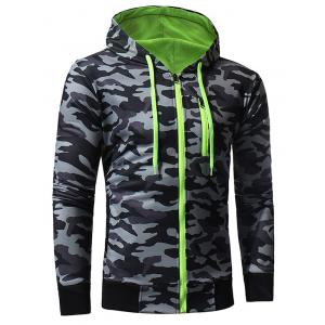 Color Block Fleece Camouflage Zip Up Hoodie -
