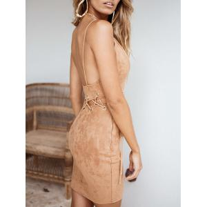 Faux Suede Plunge Lace-up Fitted Dress -