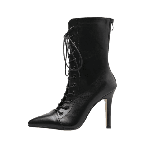 Stiletto Pointed Toe Criss Cross Boots -