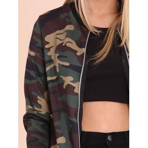 Zip Up Camouflage Print Jacket -
