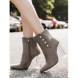 Stud Chunky Heel Transparent Ankle Boots -