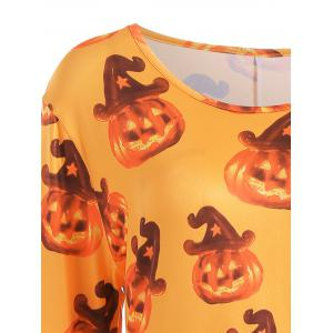Robe T-shirt Manches Longues Halloween Citrouille Grande Taille -