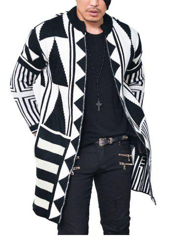 Shop Open Front Tribal Geometric Pattern Cardigan - 2XL WHITE AND BLACK Mobile