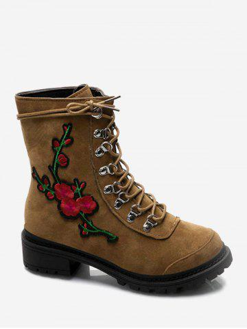 Fashion Chunky Heel Metal Floral Embroidery Ankle Boots BROWN 39