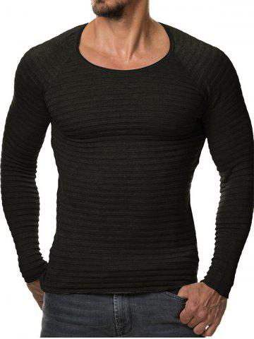 Store Slim Fit Ribbed Raglan Sleeve Tee BLACK 2XL