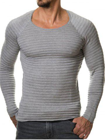 Fancy Slim Fit Ribbed Raglan Sleeve Tee GRAY 2XL