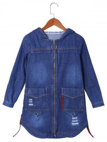 Outfit Drop Pockets Denim Curved Hooded Coat