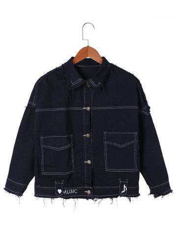 Cheap Drop Shoulder Frayed Jean Shirt Jacket
