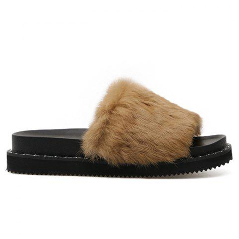 Best Platform Faux Fur Slide Sandals - 38 BROWN Mobile