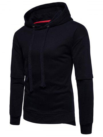 Outfit Drop Shoulder Side Slit Fleece Pullover Hoodie