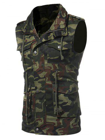 Outfits Camouflage Zip Up Fatigue Waistcoat GREEN L