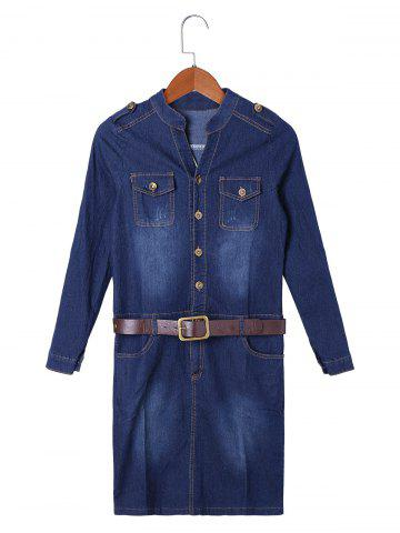 Sale Flap Pocket Jean Formfitting Dress with Belt DENIM BLUE S