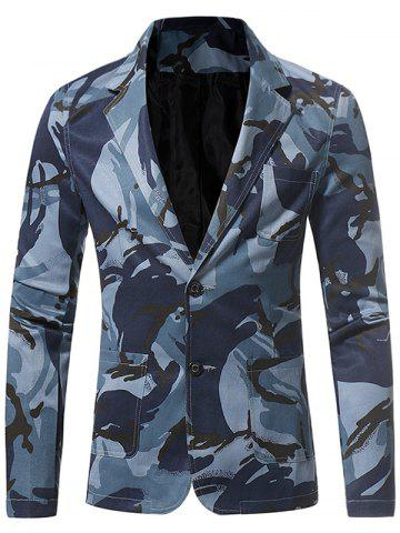 Hot 3D Camouflage Lapel Single Breasted Blazer BLUE M