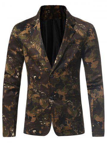 Discount 3D Camouflage Lapel Single Breasted Blazer GREEN L