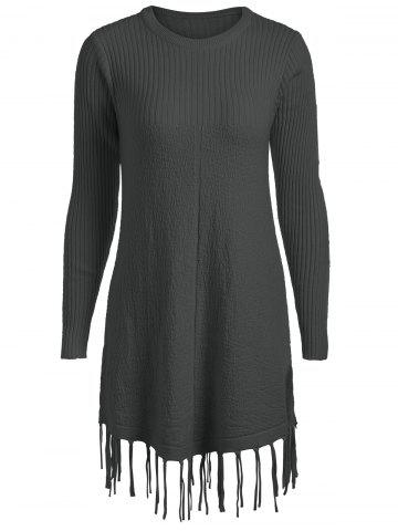 Buy Plus Size Tassel Ribbed Longline Sweater - 2XL BLACK Mobile